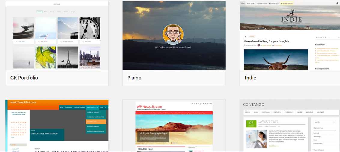 Preinstalled WordPress Themes Available