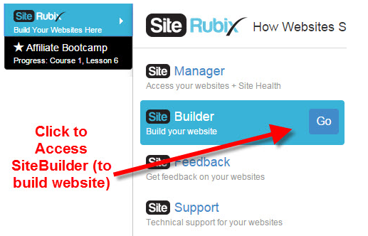 Site Rubix site builder log in