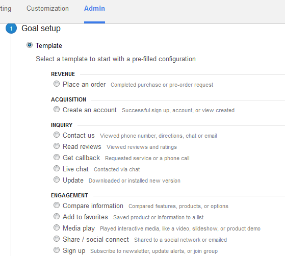 Goal Setup screen in Google Analytics