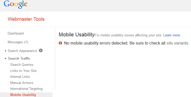 Google Webmaster Tools Mobile Usability