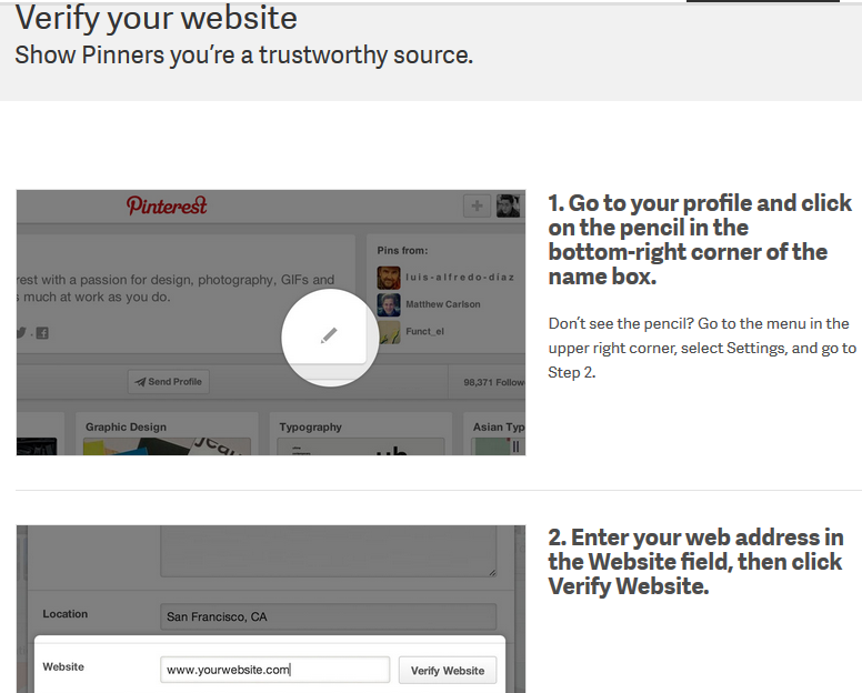 Verify your website on Pinterest